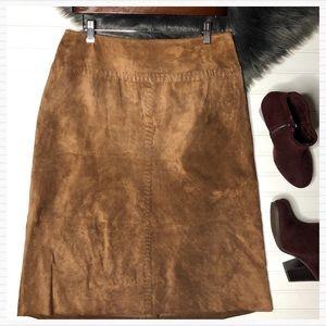 Leather Suede Stitched Cognac Midi Skirt Vintage